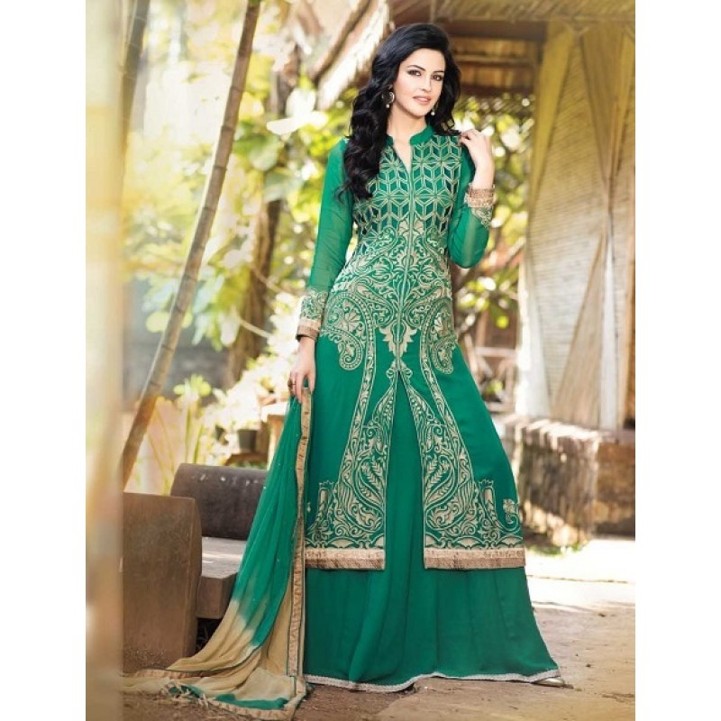 Green-Ethnic-Fashion-Suits-Online-Shopping-India-Designer-Lehangas