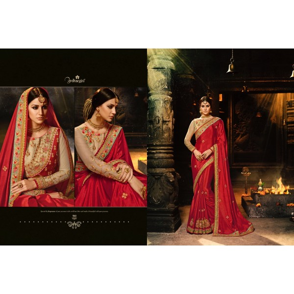 Maroonish Red Chiffon Sarees with Embroidered Blouse-1141