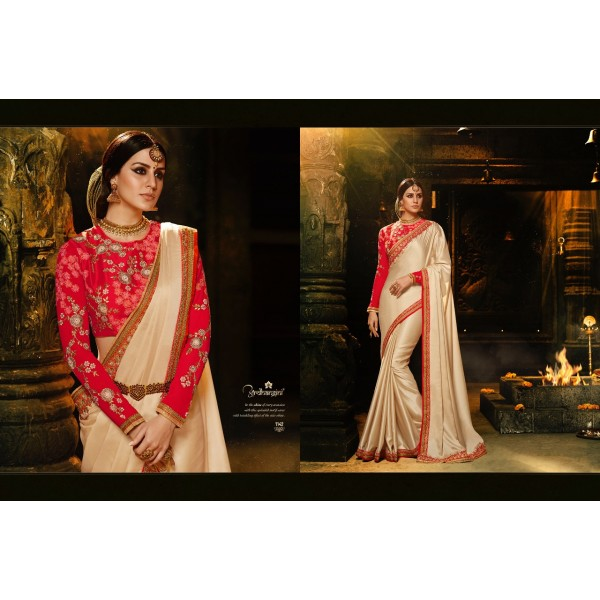 Golden Cream Chiffon Saree with Embroidered Blouse-1142