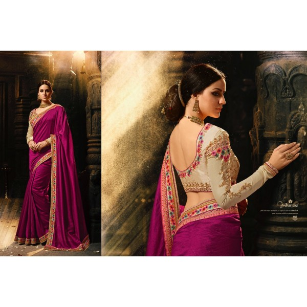 Graceful Wine Magic Silk Saree with Beautiful Embroidered Blouse-1143