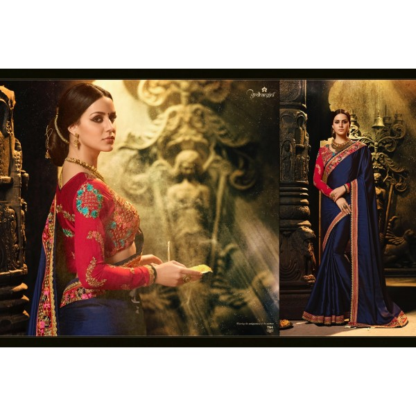 Beautiful Blue Magic Silk Saree with Embroidered Blouse-1144