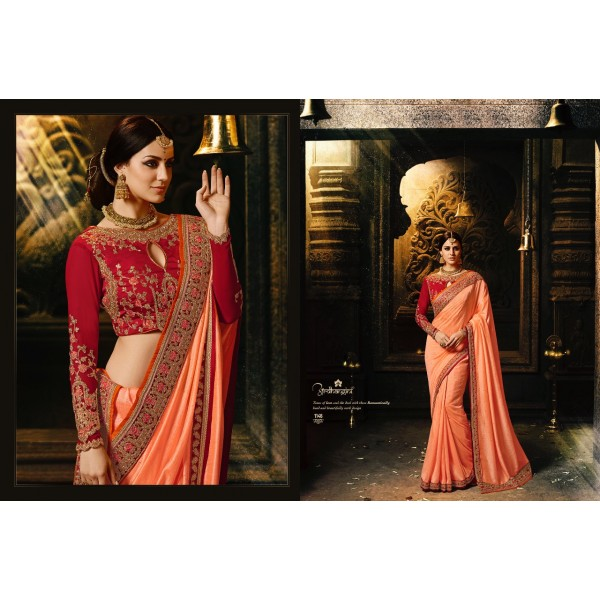 Peach Designer Saree with Heavy Border with Embroidered Blouse-1146