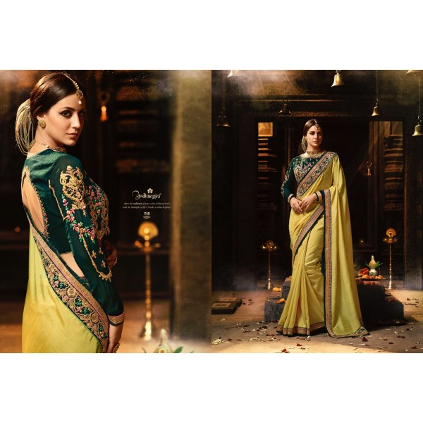 Gorgeous Yellow Silk Saree with Bottle Green Embroidered Blouse-1149