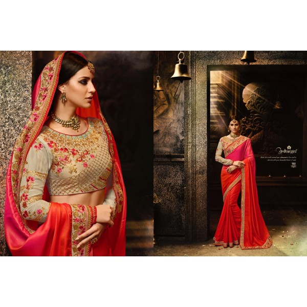Gorgeous Pink Orange Designer Saree with Embroidered Blouse-1151