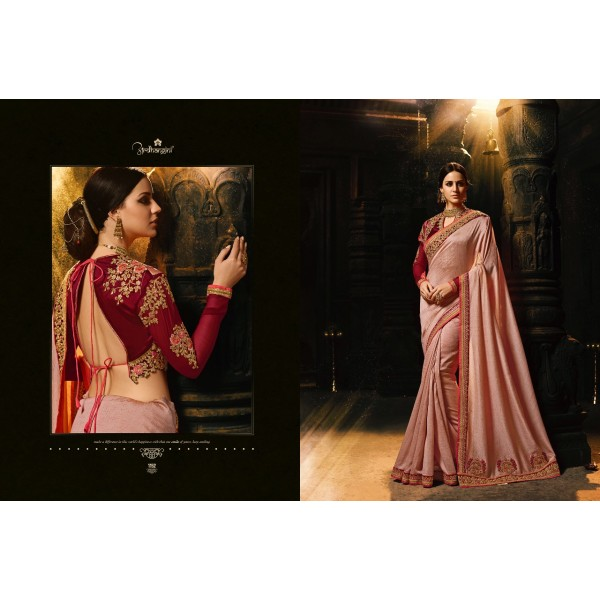 Stylish Pink Designer Saree with Embroidered Blouse-1152