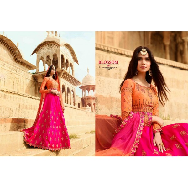 Gorgeous Pink Embroidered Pink Lehanga with Contrast Blouse-601