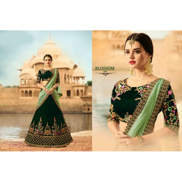 Stunning Green Designer Lehanga Choli with Embroidery-604