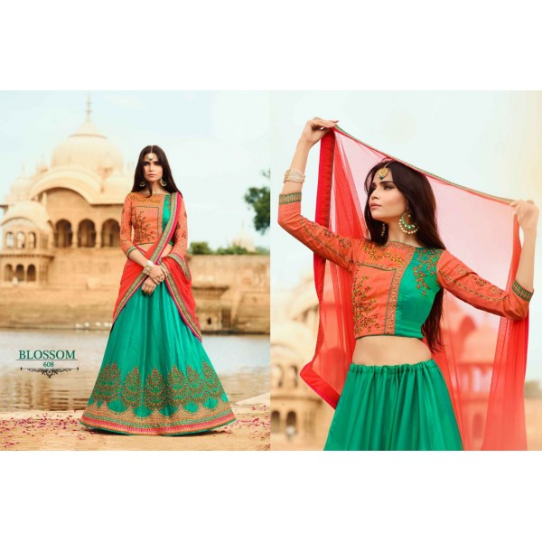 Pretty Green Designer Lehanga Choli with Floral Embroidery-608