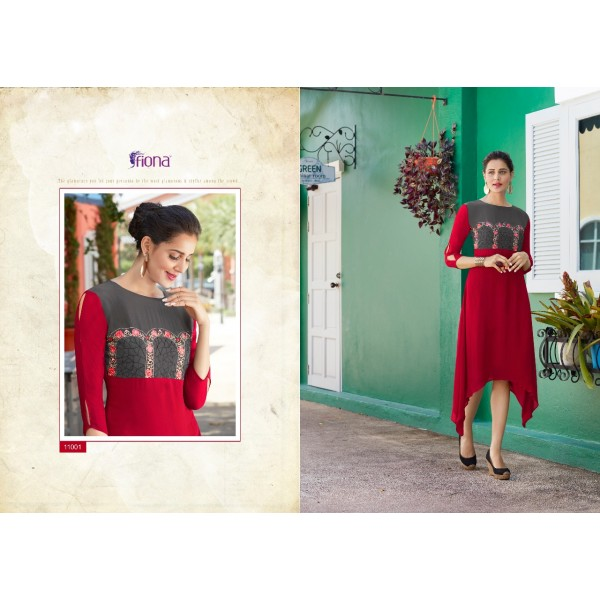 Georgette High Fashion Kurti with Pretty Embroidery