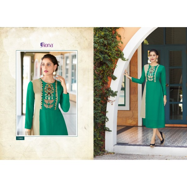 Green Georgette Designer Kurti with Embroidery