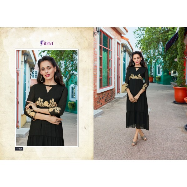 Black Georgette Frock Style Tunic with Embroidery