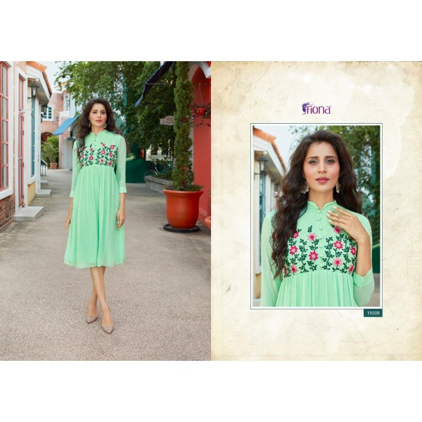 Green Georgette Designer Tunic with Embroidery