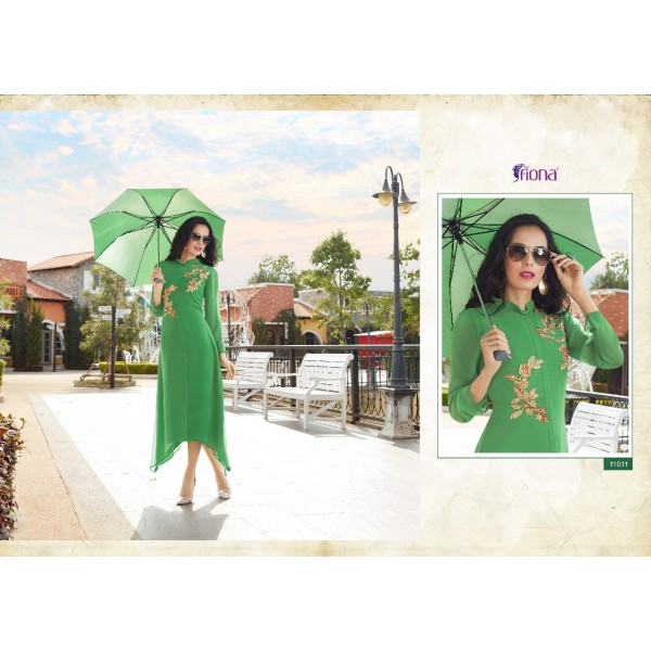 Green Stylish Georgette Designer Kurti with Embroidery