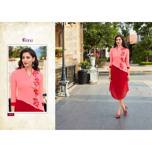 Pink Georgette Designer Kurti with Embroidery