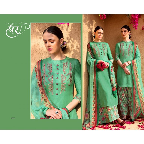 Green Floral Cotton Satin Embroidered Salwar Kameez