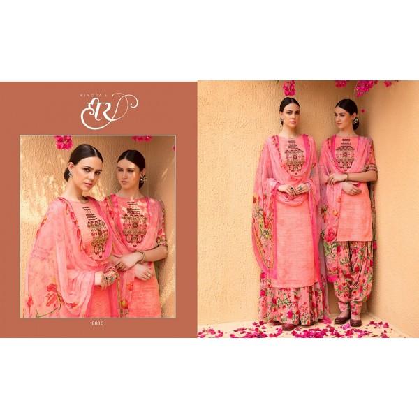Bright Floral Cotton Satin Embroidered Salwar Kameez Fabric Set
