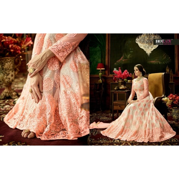 Pink and White Floral Embroidered Designer Suit-3883