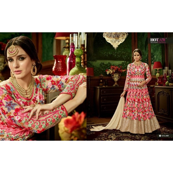 Pink Long Designer Salwar Suit with Pretty Embroidery-3885