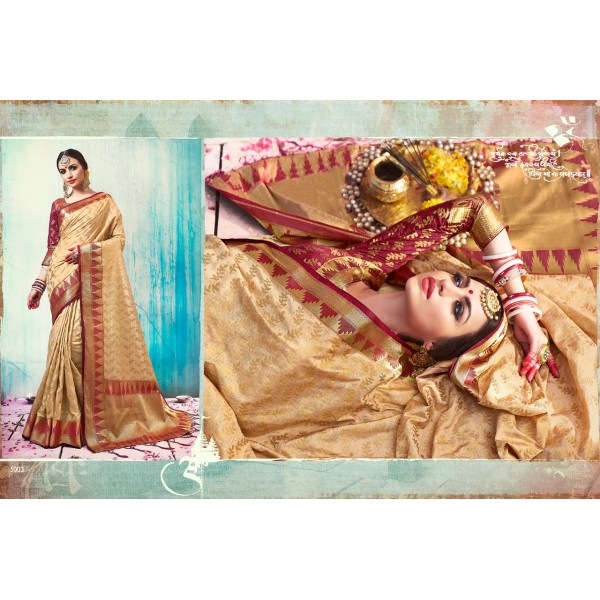 Beige Golden Zari Saree with Majenta Zari Blouse