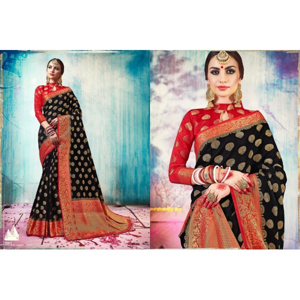 Stunning Black and Red Silk Saree with Golden Zari Embroidery