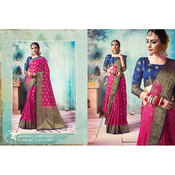 Gorgeous Pink Saree with Zari Thread Embroidery and Blue Border