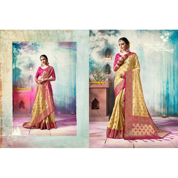 Golden Beige Silk Saree with Zari Embroidery and Pink Border