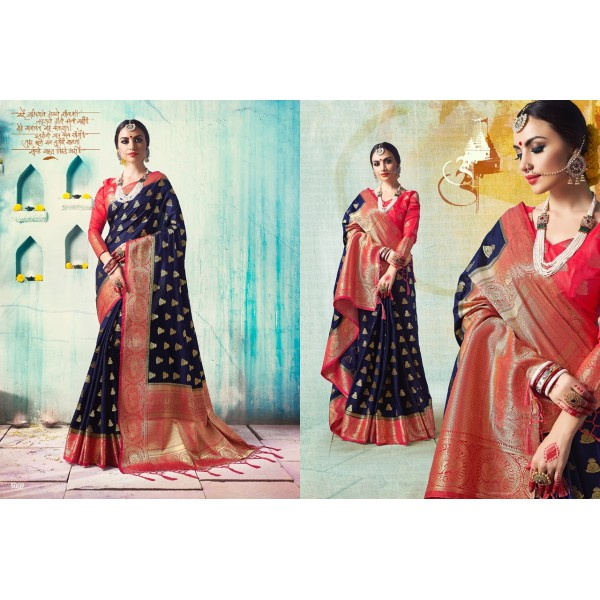 Gorgeous Black and Red Silk Saree with Zari Embroidery