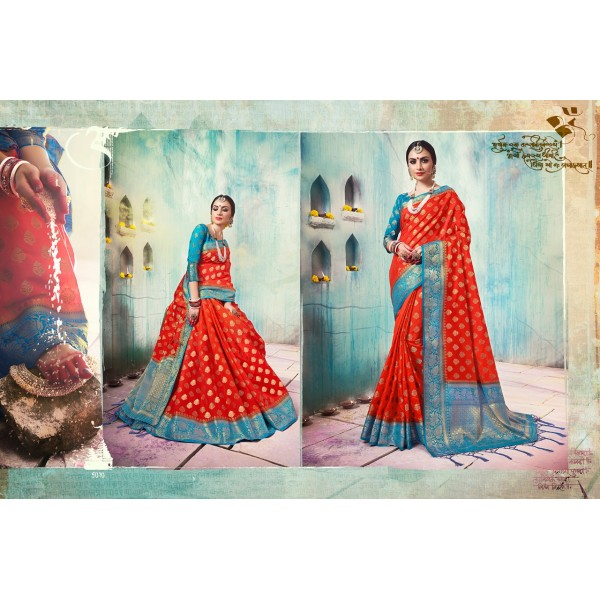 Gorgeous Red and Blue Silk Saree with Zari Embroidery