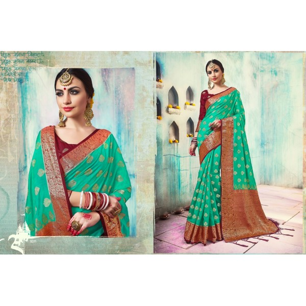 Green Silk Saree with Zari Border and Contrast Border and Blouse