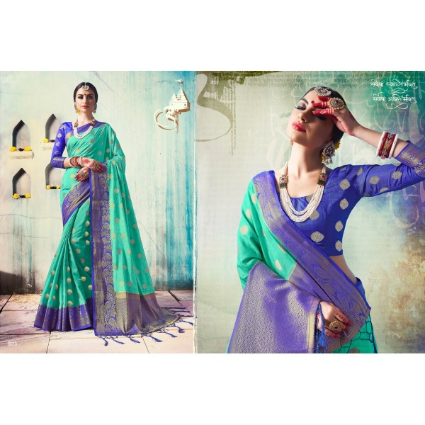 Green Silk Saree with Zari Embroidery with Contrast Blue