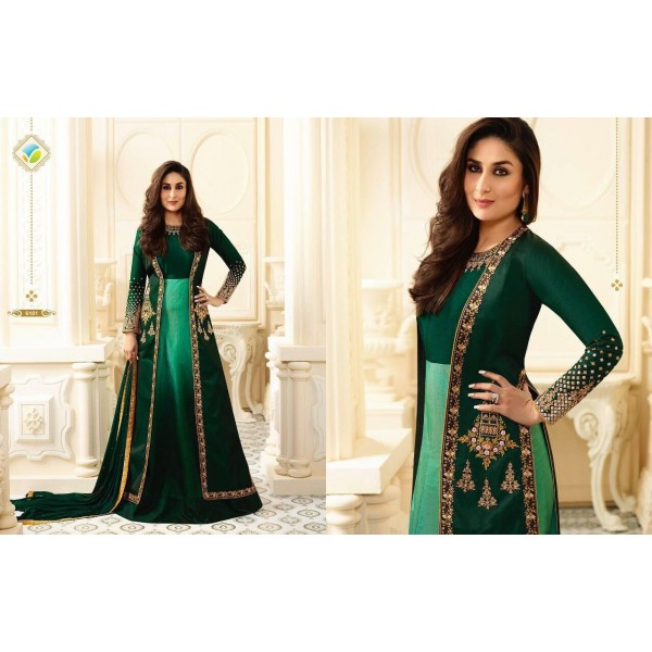 Green Double Shaded  Embroidered Party Suit-6181