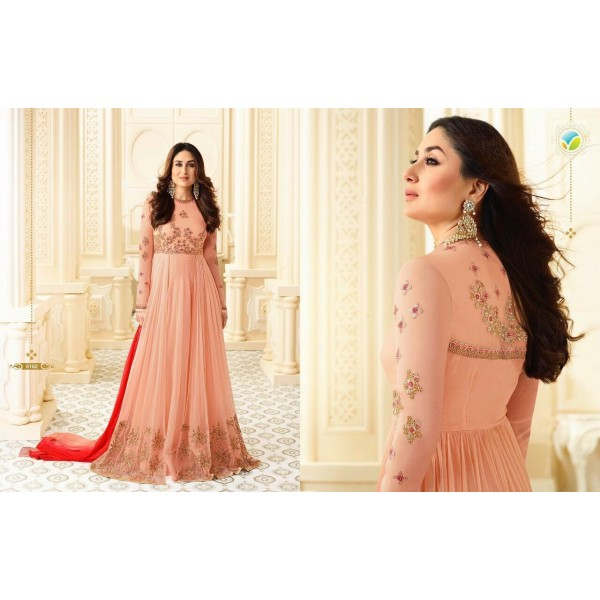 Pretty Peach Long Designer Embroidered Anarkali Suit-6182