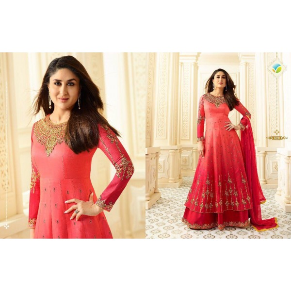 Beautiful Double Shaded Long Georgette Designer Suit-6183