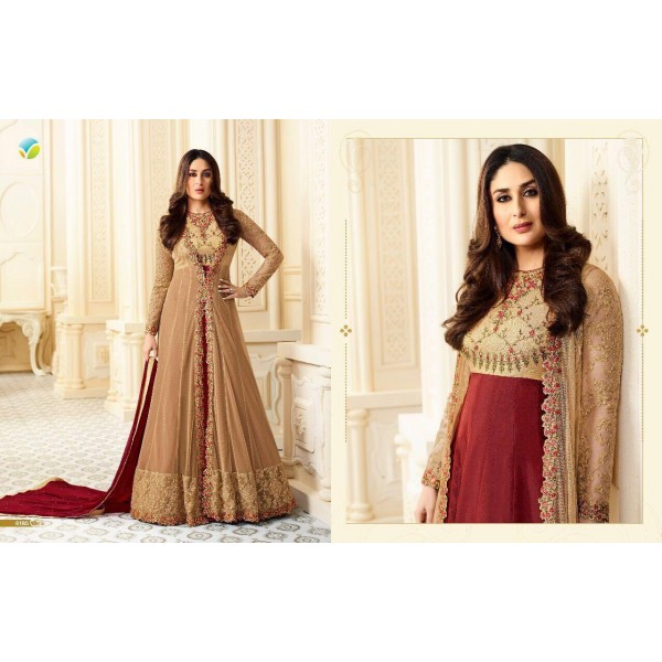 Gold Beige and Maroon Long Jacket Style Anarkali Suit-6185
