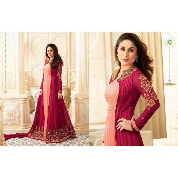 Peach and Magenta Long Flowing Jacket Style Anarkali Suit-6187