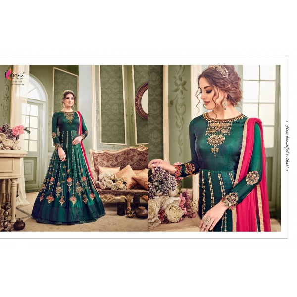 Pretty Silk Long Embroidered Dress with Dupatta