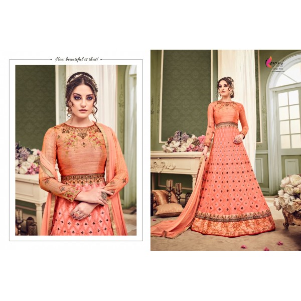 Peach Net Designer Dress with Beautiful Embroidery