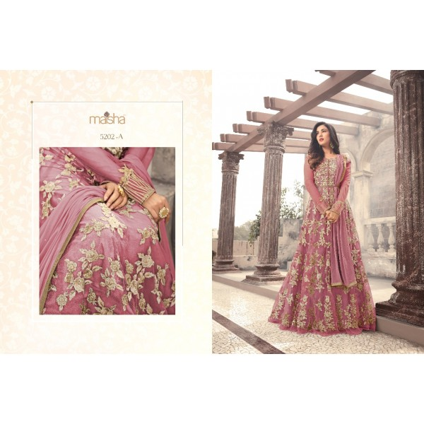 Delicate Pink Long Anarkali Dress with Floral Embroidery-5202A