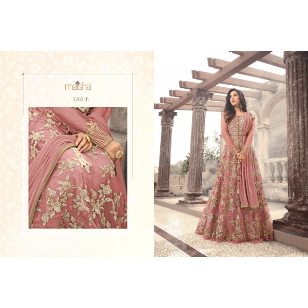 Peach Pink Long Anarkali Dress with Beautiful Floral Embroidery-5202B