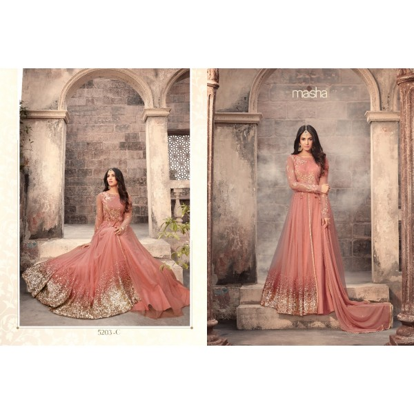 Peach Long Flowing Net Anarkali Dress with Sequence work-5203C