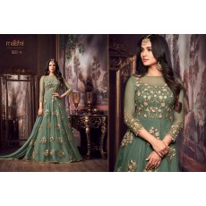 Stylish Party Wear Net Gown with Pretty Embroidery