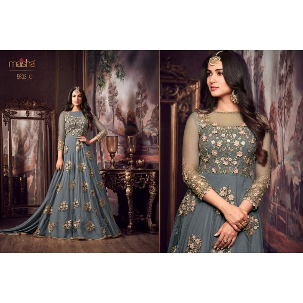 Graceful Grey Party wear Net Gown with Floral Embroidery
