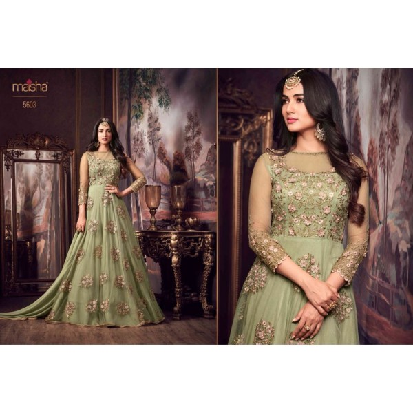 Pastel Green Party Wear Net Gown with Pretty Floral Embroidery