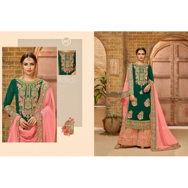 Pink and Green Georgette Party wear Sharara Suit with Embroidery