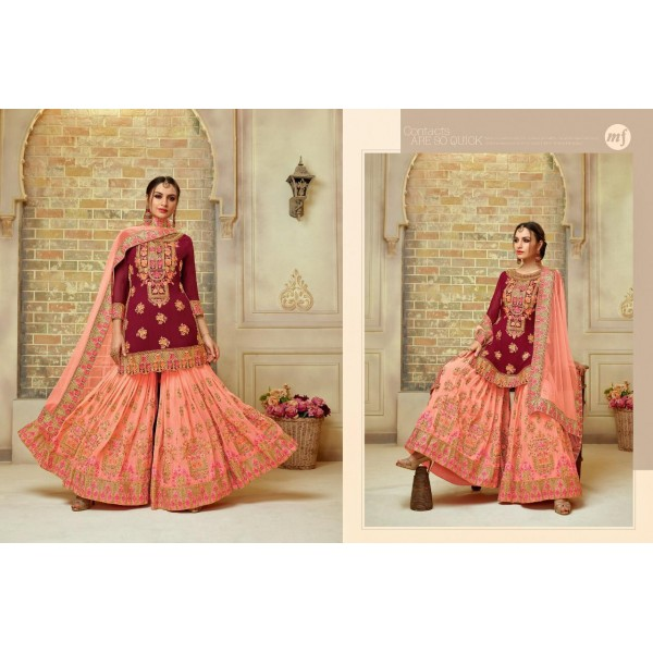 Pink and Peach Georgette Party wear Sharara Suit with Heavy Embroidery