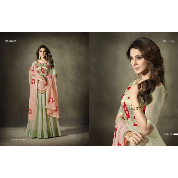 Elegant Soft Green Embroidered Suit with Peach Embroidered Dupatta-11016