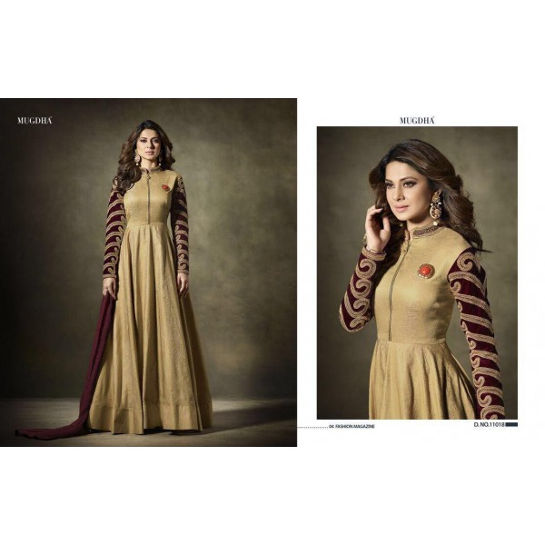 Stylish-Beige-Gold-Long-Anarkali-with-Embroidered-Sleeves-11018