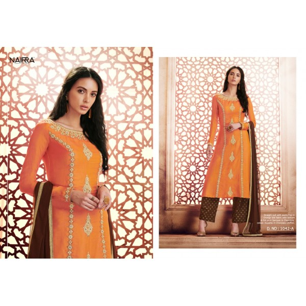 Orange and Chocolate Brown Silk Embroidered Salwar Kameez