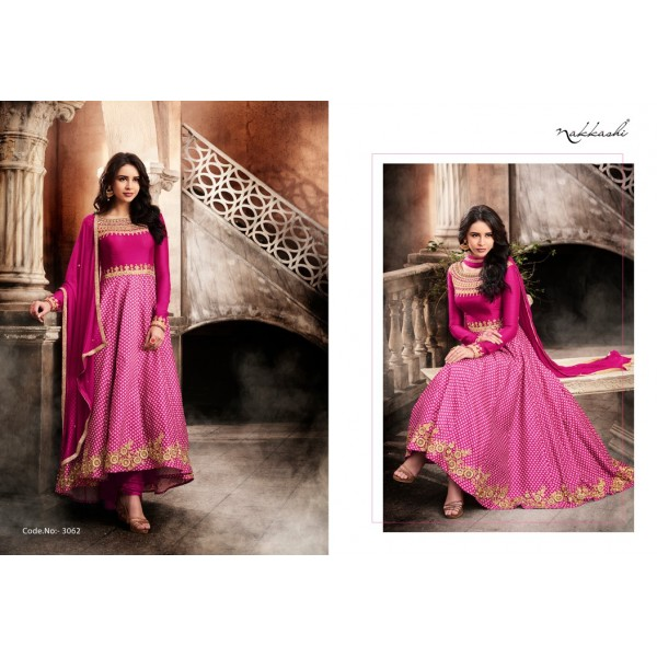 Gorgeous Pink Printed Designer Suit with Embroidery-3062