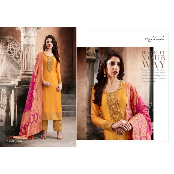 Mustard Orange Slub Silk Salwar Kameez with Embroidery-3069